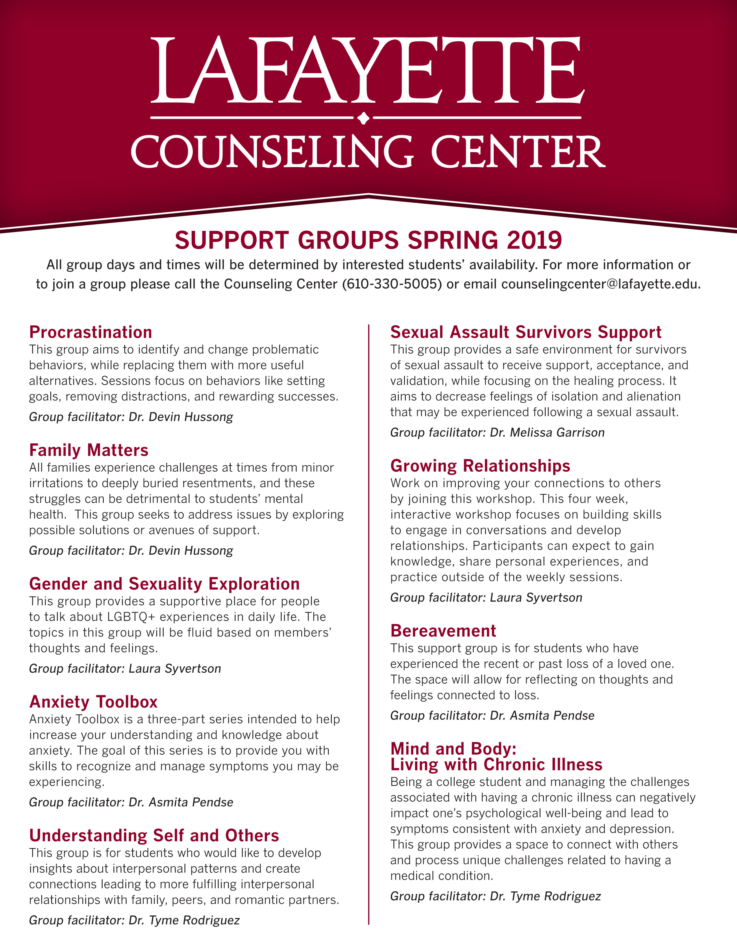Group Counseling · Counseling Center · Lafayette College